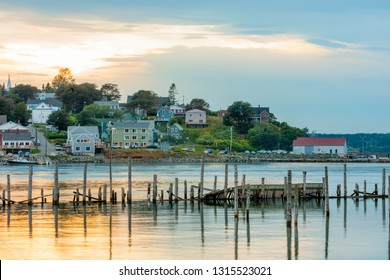 Center of Lubec, Maine and Lubec Narrows, viewed from Canadian side on Campobello island