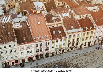 The center of Lviv city (Lvov) in Ukraine - the view from above