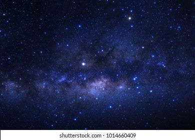 The center of the milky way galaxy with stars and space dust in the universe, Long exposure photograph, with grain