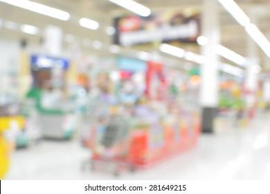 Center passage in super market discount at the blur background