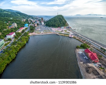 Center of Petropavlovsk-Kamchatsky in summer aerial