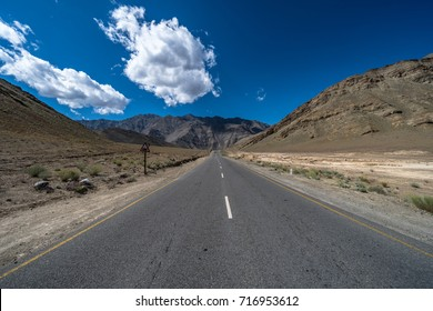 Center point of view of scenic highway in Leh Ladakh. Himalaya mountain. Ladakh is the highest plateau in the state of Jammu & Kashmir, with much of it being over 3,000m.