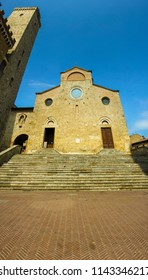 Center of San Gimignano small ancient city in Toscana, Italy, Sant Agostino church