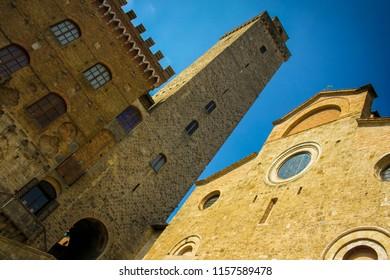 Center of San Gimignano small ancient city in Toscana, Italy