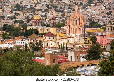 the center of San Miguel de Allende, Guanajuato, Mexico, seen from above