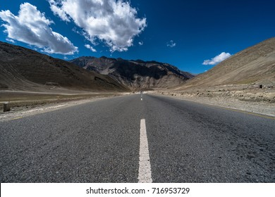 Center shot of scenic road in Leh Ladakh. Ladakh is the highest plateau in the state of Jammu & Kashmir, with much of it being over 3,000m.