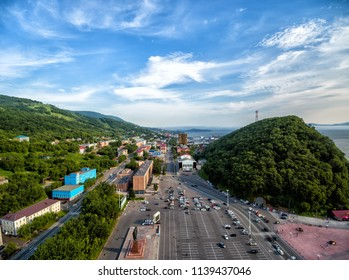 Center of small russian town aerial