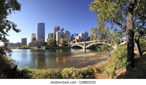 Center Street Bridge, Bow River with Skyline of Calgary, Alberta, Canada