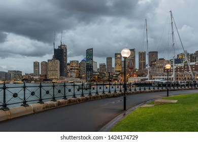 The center of Sydney, Australia, seen at sunset by Hickson Road Reserve, The Rocks
