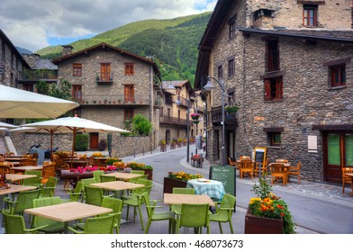 Center of village Ordino, street cafe. Andorra