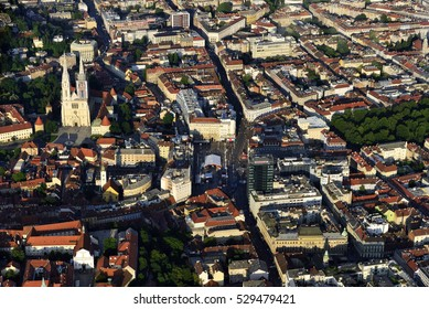 The center of Zagreb, Croatia, from air. Ban Jelacic Square an the Cathedral are prominent.