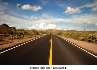 Centered view of an open road in pheonix Arizona