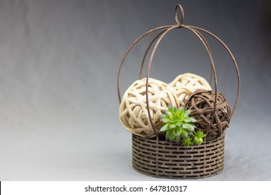 Centerpiece with bamboo balls and succulents