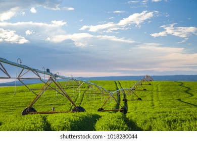 Center-pivot irrigation also called waterwheel and circle irrigation, is a method of crop irrigation in which equipment rotates around a pivot and crops are watered with sprinklers, Paulina, Oregon
