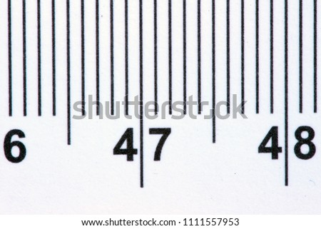 centimeter scale on the ruler by macro lens