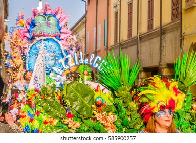 Cento, Italy, 19 feb 2017: colorful parade floats pass through village streets during the Carnevale di Cento event