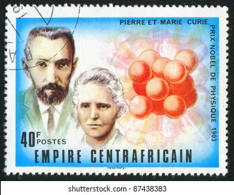 CENTRAL AFRICAN REPUBLIC - CIRCA 1977: stamp printed by Central African Republic, shows Nobel Prize, Pierre and Marie Curie, circa 1977