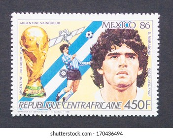 CENTRAL AFRICAN REPUBLIC - CIRCA 1986: a postage stamp printed in Central African Republic showing an image of Diego Armando Maradona, circa 1986.