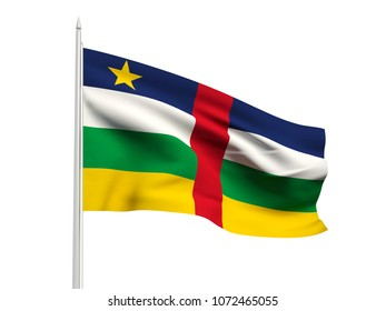 Central African Republic flag floating in the wind with a White sky background. 3D illustration.