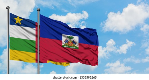 Central African Republic and Haiti flag waving in the wind against white cloudy blue sky together. Diplomacy concept, international relations.