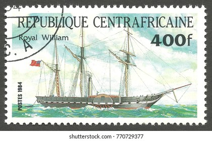 Central African Republic - stamp printed 1984, Multicolor issue of offset printing, Topic Sailing ships, Series Packet Ship Pericles, Royal William