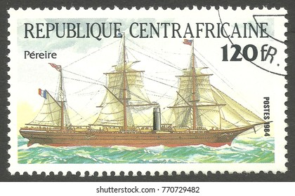 Central African Republic - stamp printed 1984, Multicolor issue of offset printing, Topic Sailing ships, Series Packet Ship Pericles, Pereire