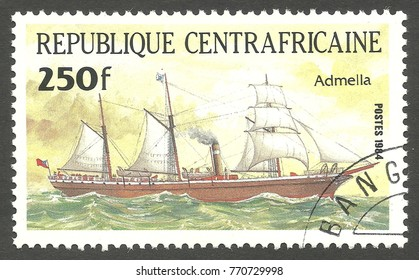 Central African Republic - stamp printed 1984, Multicolor issue of offset printing, Topic Sailing ships, Series Packet Ship Pericles, Admella