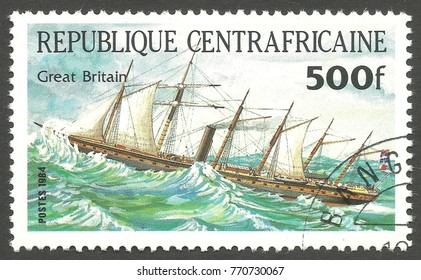 Central African Republic - stamp printed 1984, Multicolor issue of offset printing, Topic Sailing ships, Series Packet Ship Pericles, Great Britain