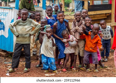 Central African Republic-July 17 unidentified children posing for photography at streets of Bangui on July 17, 2014 in Bangui, Central African Republic