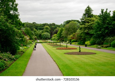 Central alley with flower beds in Seaton Park, Aberdeen, Scotland