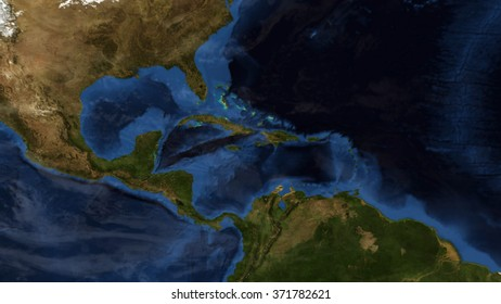 Central America Day Map & Clouds (Elements of this image furnished by NASA)
