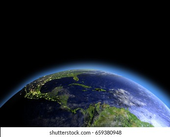 Central America as seen from Earth's orbit in space during dawn. 3D illustration with detailed planet surface. Elements of this image furnished by NASA.