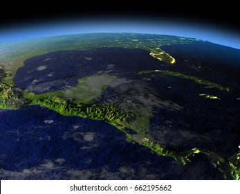 Central America from space  at night with visible illuminated city lights. 3D illustration with detailed planet surface. Elements of this image furnished by NASA.