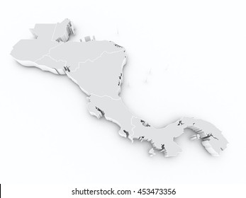central america states 3d map