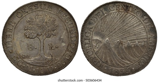 Central American Republic coin eight reals 1835, motto in Latin, tree divides denomination, sun with rays peeks from behind mountains, silver,