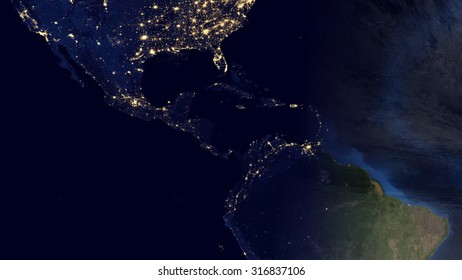Central American Space View (Elements of this image furnished by NASA)