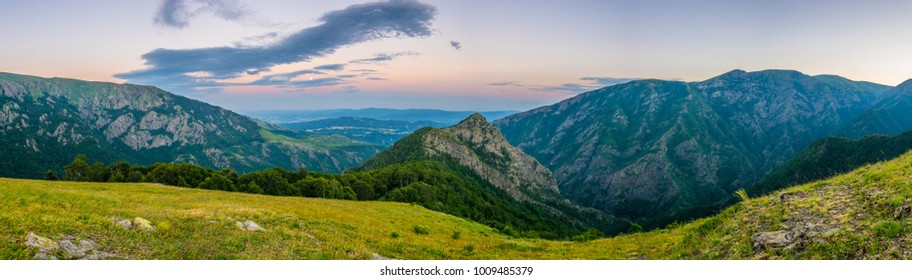Central Balkan national park in Bulgaria during sunset