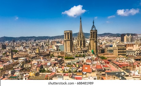 Central Barcelona skyline, view from the bell tower of Church of Sants Just i Pastor, the city's oldest Church situated in the Gothic Quarter. Catalonia, Spain