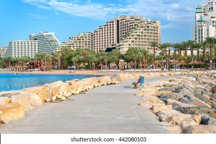 Central beach of Eilat - famous resort and recreational city in Israel