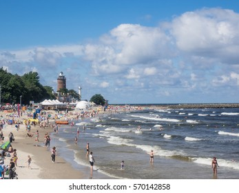 Central Beach in Kolobrzeg during summer vacations.
