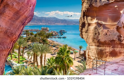 Central beach and marina in Eilat - famous resort and recreation city in Israel.This serene location is a very popular tropical getaway for Israeli and European tourists.