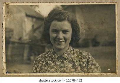 Central Bohemia, CZECHOSLOVAKIA, CIRCA 1948 - portrait of a young woman in the home environment (agricultural farm) - circa 1948