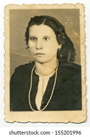 CENTRAL BULGARIA, BULGARIA - CIRCA 1935: Ordinary photo of an unknown young woman - Note: slight blurriness, better at smaller sizes - circa 1935