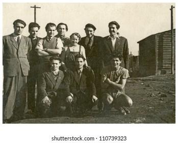 Central Bulgaria, BULGARIA, CIRCA 1955 - group of colleagues and friends - circa 1955