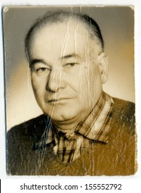 CENTRAL BULGARIA, BULGARIA - CIRCA 1970: Common portrait of an unknown elderly man - Note: slight blurriness, better at smaller sizes - circa 1970