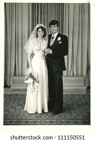 CENTRAL BULGARIA, BULGARIA,- CIRCA 1975: the area Plovdiv - formal portrait of the newlyweds - circa 1975