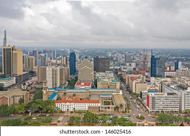 Central business district of Nairobi capital of Kenya. Panorama viewed from helipad on the roof of Kenyatta International Conference Centre (KICC) 30-storey building the highest point in the city.