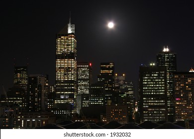 Central Business District at night (Melbourne, Australia). Photo taken from Docklands side