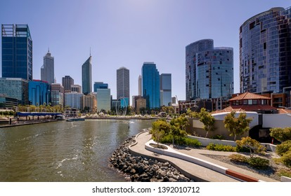 The central business district of Perth seen from the Elizabeth Quay pedestrian bridge, Western Australia