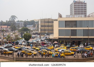 Yaoundé, Central / Cameroon - February 16 2016: View on a busy intersection in Cameroon's capital Yaoundé.